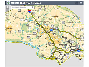 MCDOT Highway's map application showing roadwork scheduled