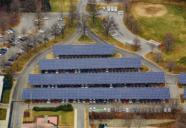 Micogrid of solar panels at Montgomery Pulic Safety Building
