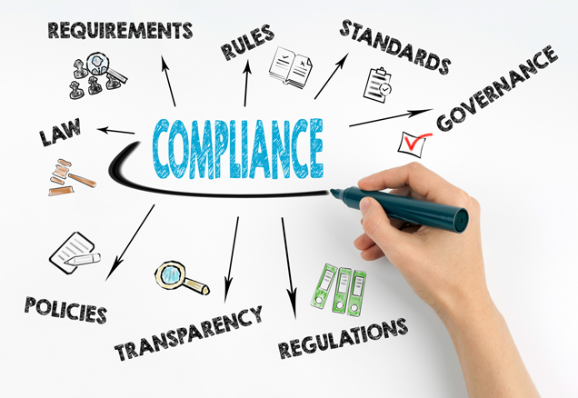 White paper with words relating to compliance