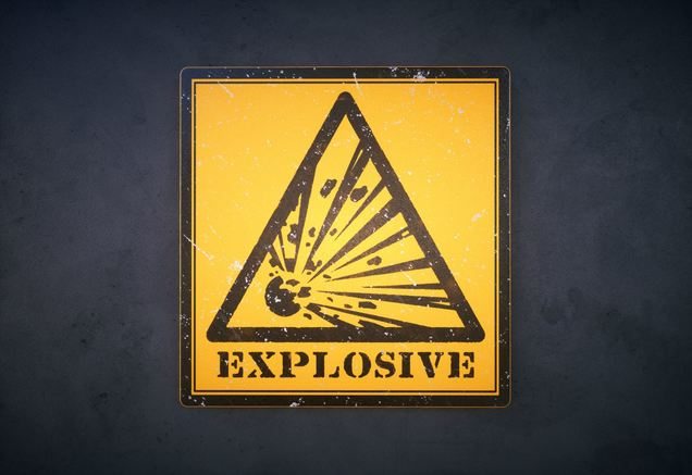 explosives warning sign