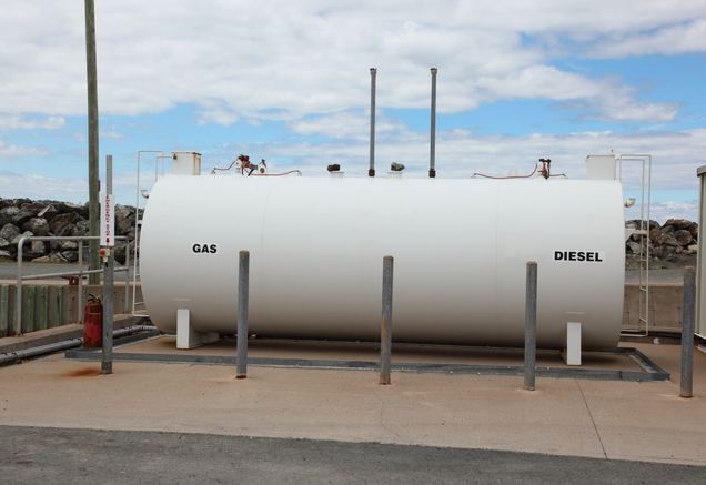above ground storage tank holding gas and diesel