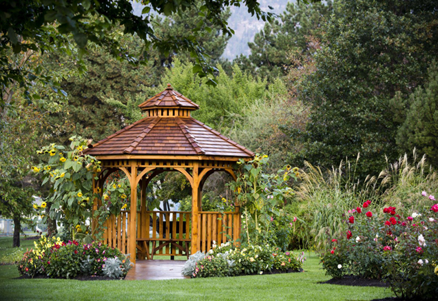gazebo in the yard of a single family home