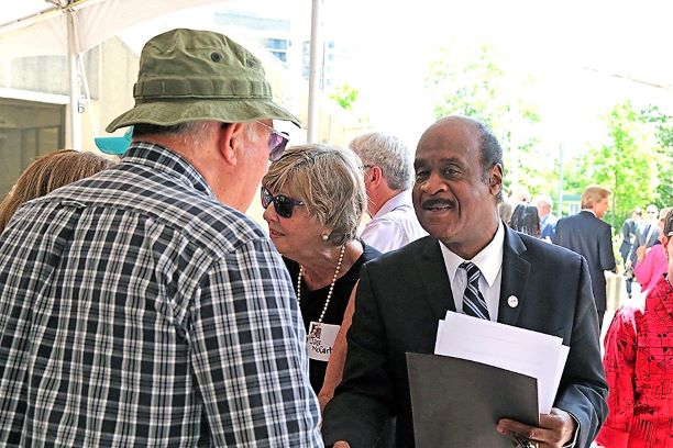 County Executive Isiah Leggett greets a Vietnam Veteran