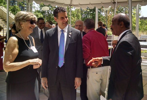 Jane McCarthy, Vietnam Veteran and former Commissioner, Commission on Veterans Affairs, Congressman John Sarbanes, and County Executive Isiah Leggett