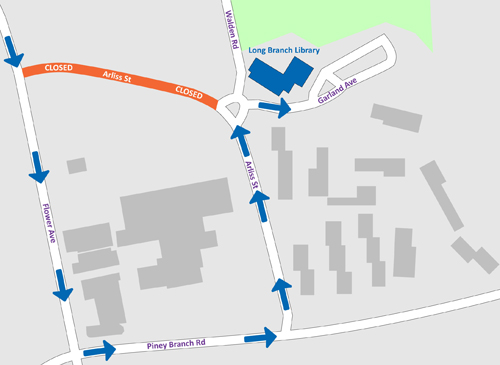 map showing the closed section of Arliss St and the alternate route to the Long Branch Library via Flower Ave, Piney Branch Rd, and Arliss St