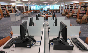 rows of computers in a library
