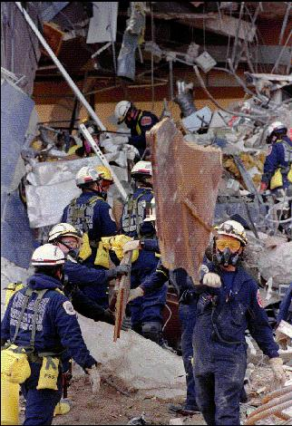 MCFRS members of the urban search and rescue team at the site of Oklahoma City bombing