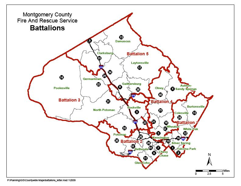 Map of county fire stations and battalions