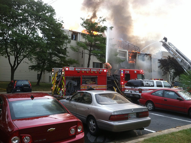 mcfrs fire engine on scene of apartment fire