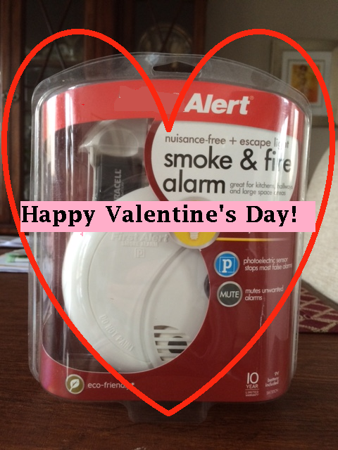 smoke alarm with heart shape around it