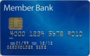 credit card with blue background and chip