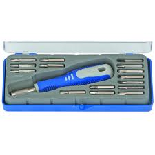 picture of tool box with blue handled tool