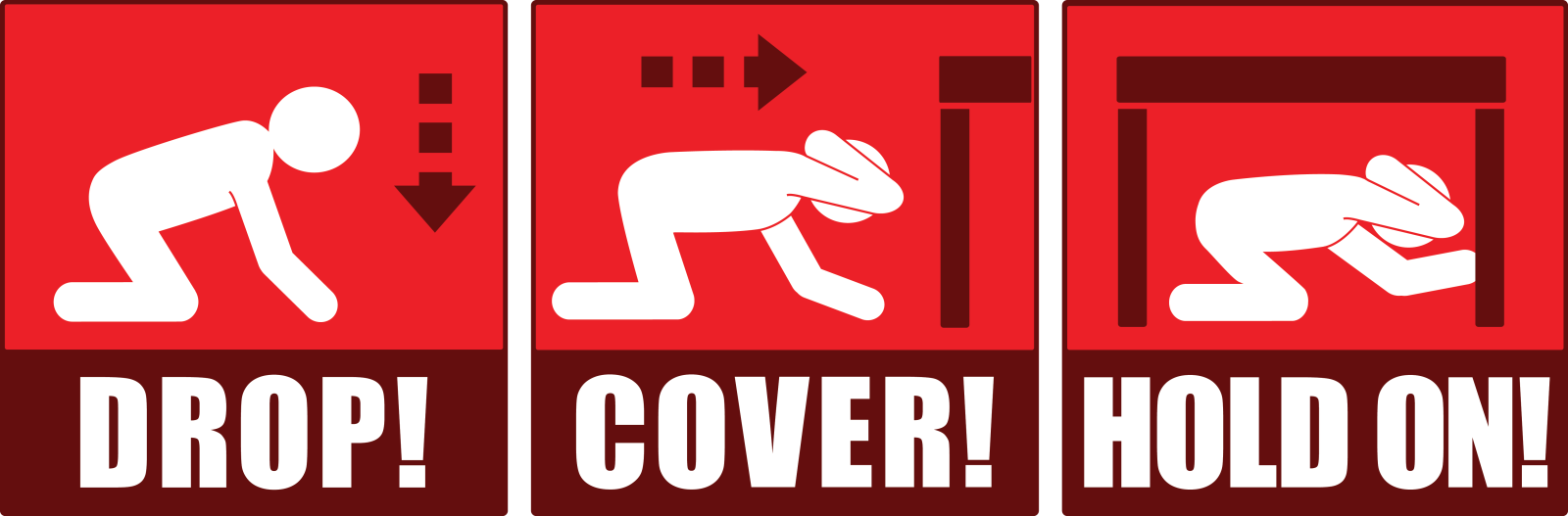 Graphic showing a person dropping to the ground, covering and protecting their body under the table, and holding on to the table during an earthquake