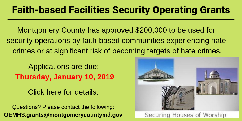 Faith-based Security Operations grant. Click image for grant website & details.