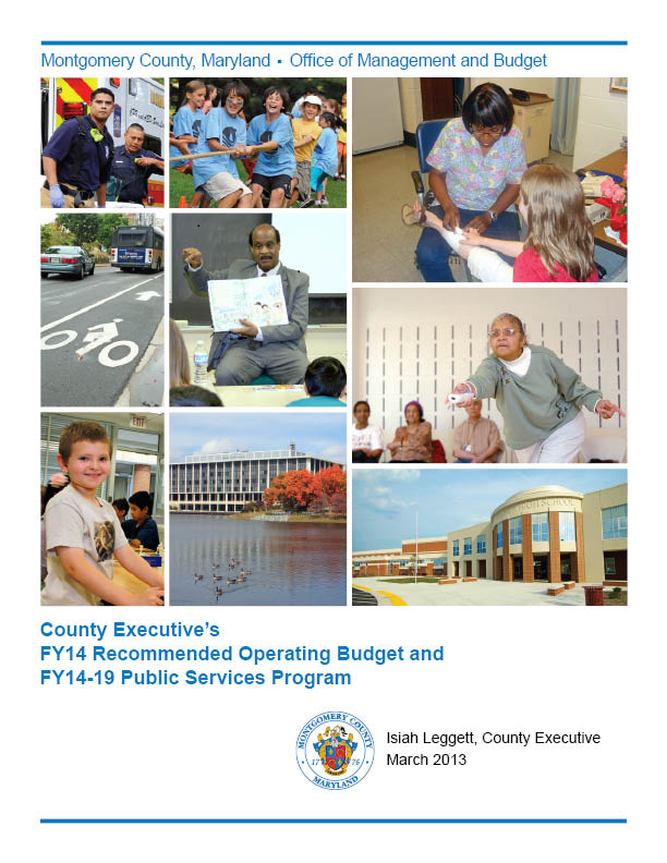 County Executive's Recommended FY14 Operating Budget book cover