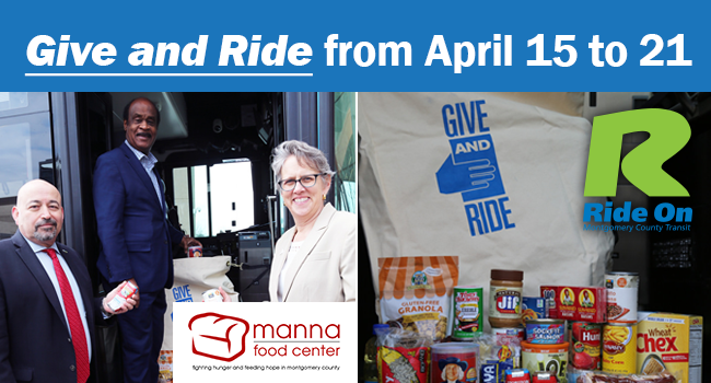 Ride On will host its annual food drive in partnership with Manna Food Center from Sunday, April 15 to Saturday April 21.