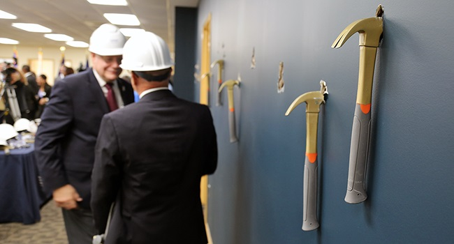 County, State, and Federal officials were on hand for the Gold Hammer ceremony to redevelop space for a new County Community Based Outpatient Clinic