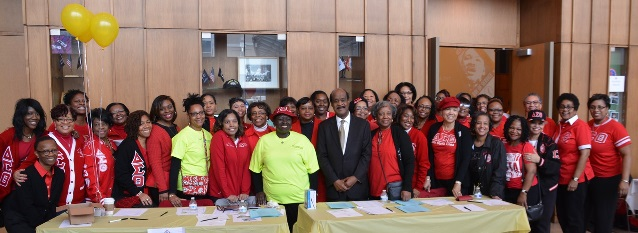 Ike Leggett joins with volunteer leadership from the Delta Sigma Theta Sorority