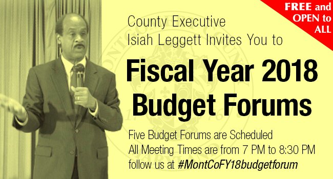 Leggett to Hold Five FY18 Operating Budget Forums