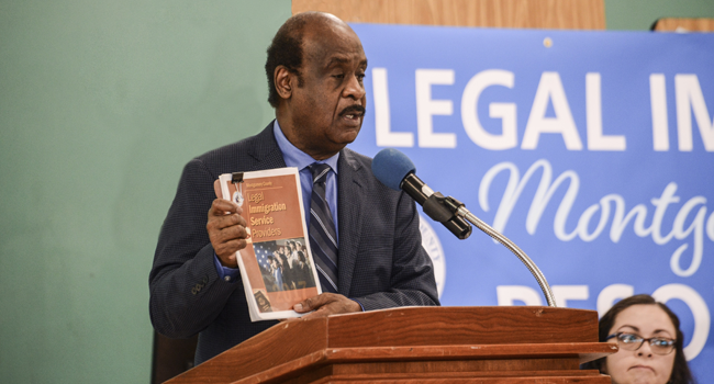 Montgomery County Executive Ike Leggett delivered remarks at Citizenship and Legal Immigration Resource Fair at Montgomery Blair High School.
