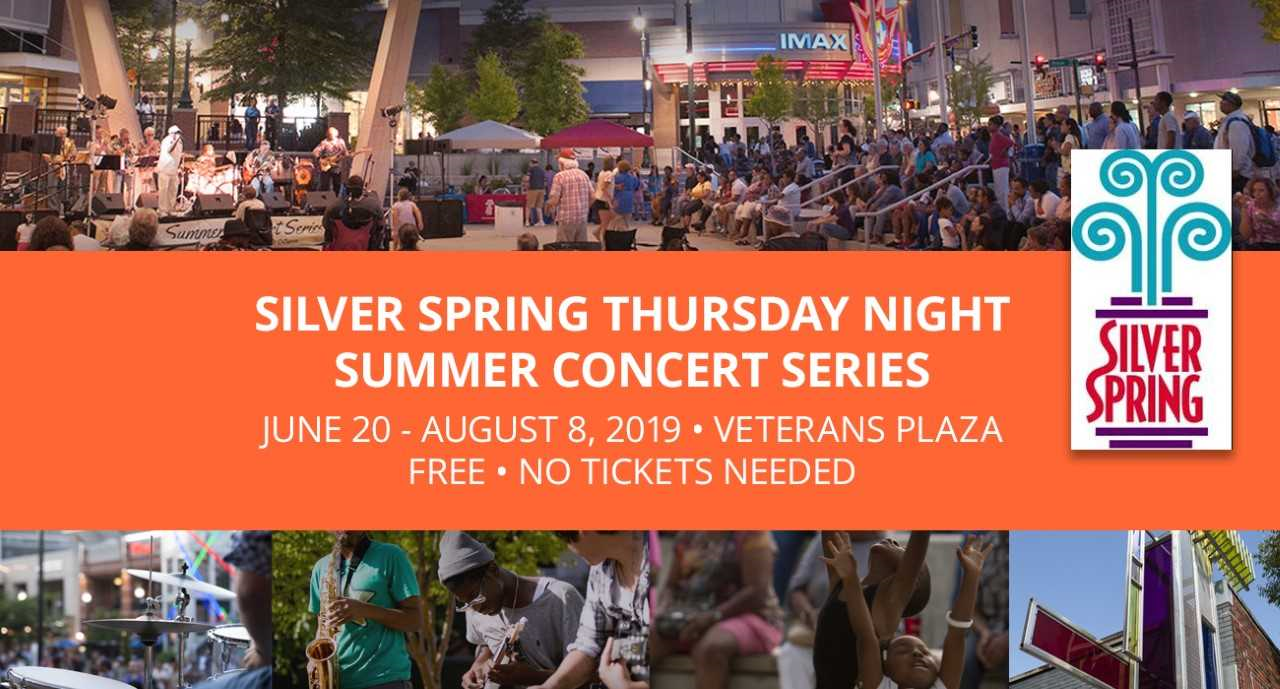 The Silver Spring Summer Concerts will be held at Veterans Plaza located at One Veterans Place. The concerts will take place Thursday, June 20 through Aug. 8 from 7 to 9 p.m.