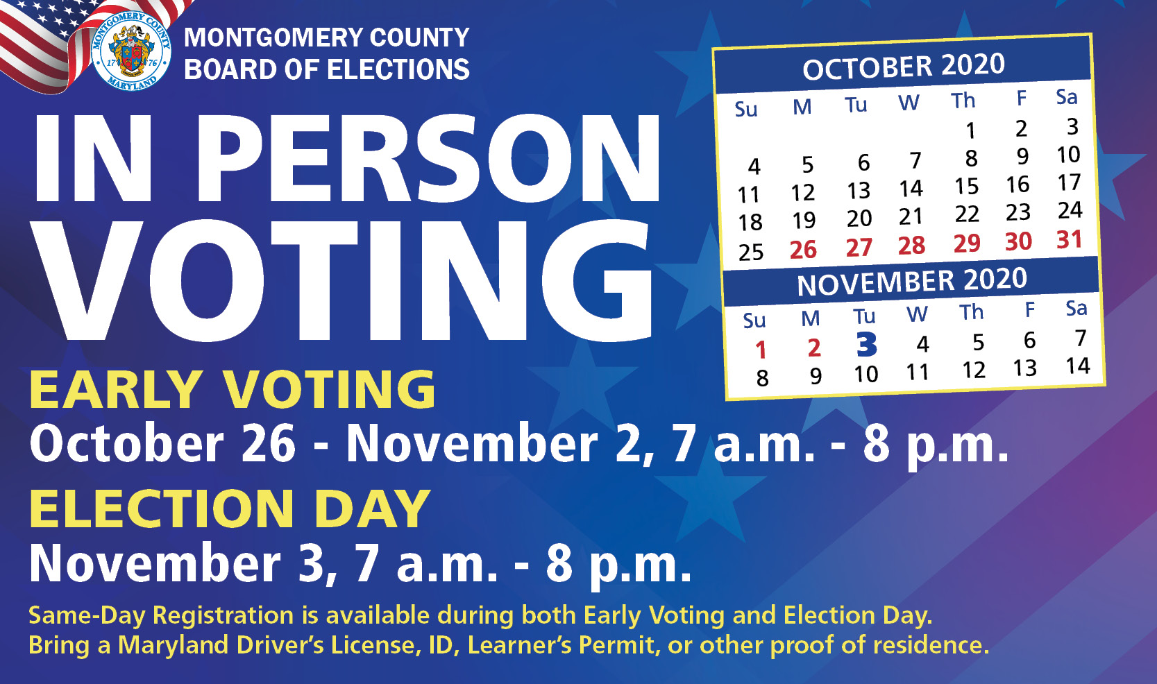 Early voting for the Presidential General Election is set for Oct. 26 to Nov. 2 and Election Day is Tuesday, Nov. 3.