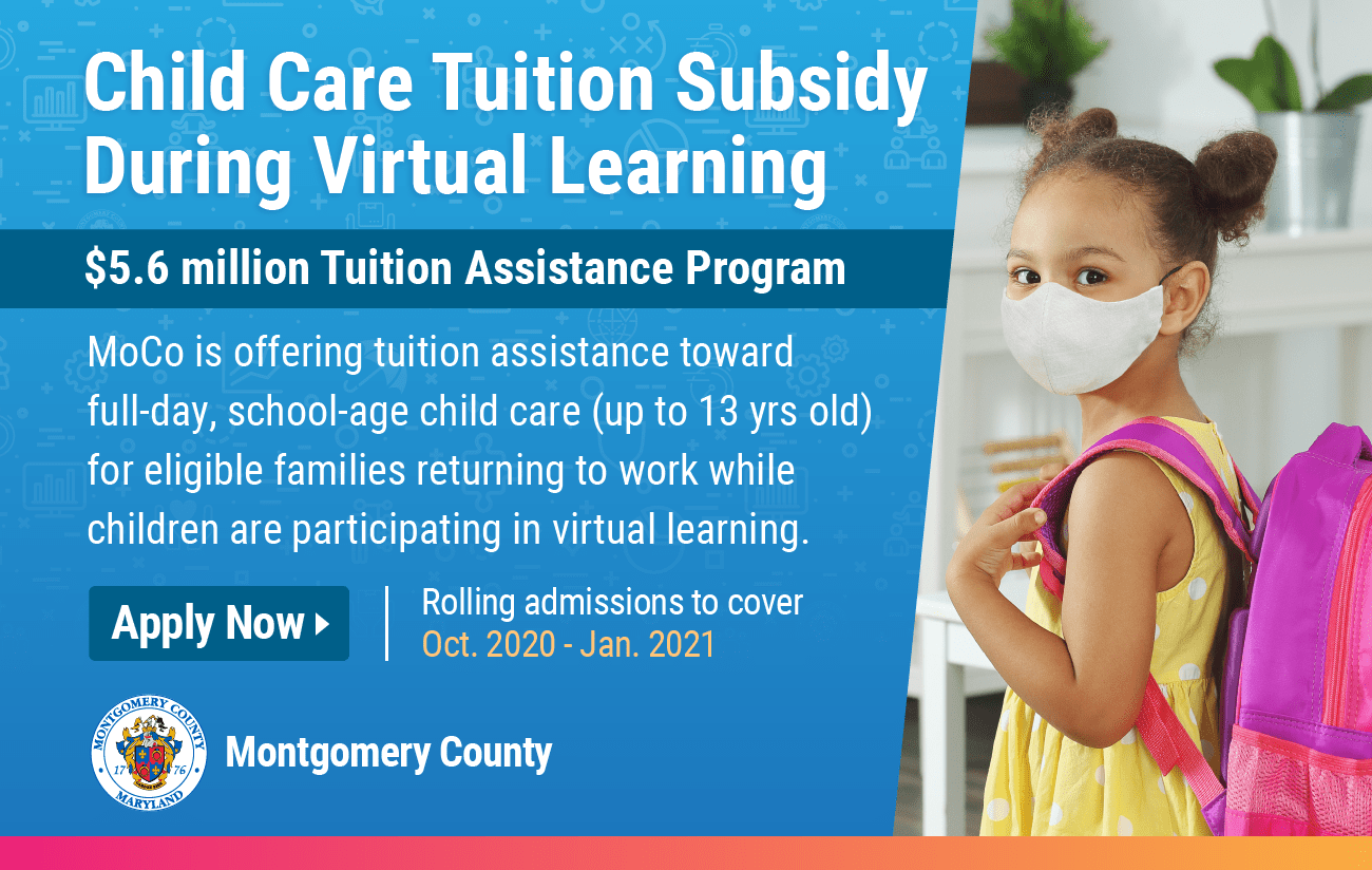 Tuition assistance is available for eligible parents to pay for full-day, school-age child care services