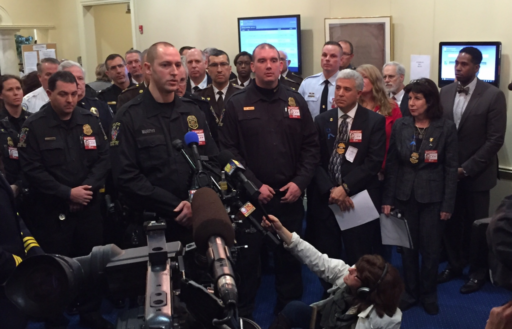 Officer Murphy speaks during press conference regarding proposed DUI bills (Annapolis)