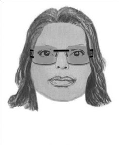 """This suspect is described as an African American female in her early 20's with a dark complexion. She is approximately 5'05"""" to 5'07"""" tall with a thin build. She was wearing a multicolored knit shirt, shorts, and Versace sunglasses with a black and gold logo on the sides."""