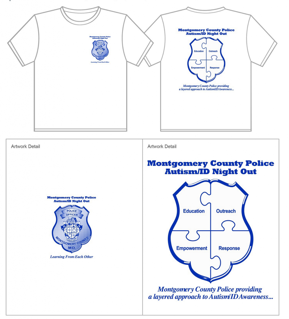 A preview of the t-shirt provided in the MCPD - Autism/IDD Safety Kit. The kits will be available at the event and are free.