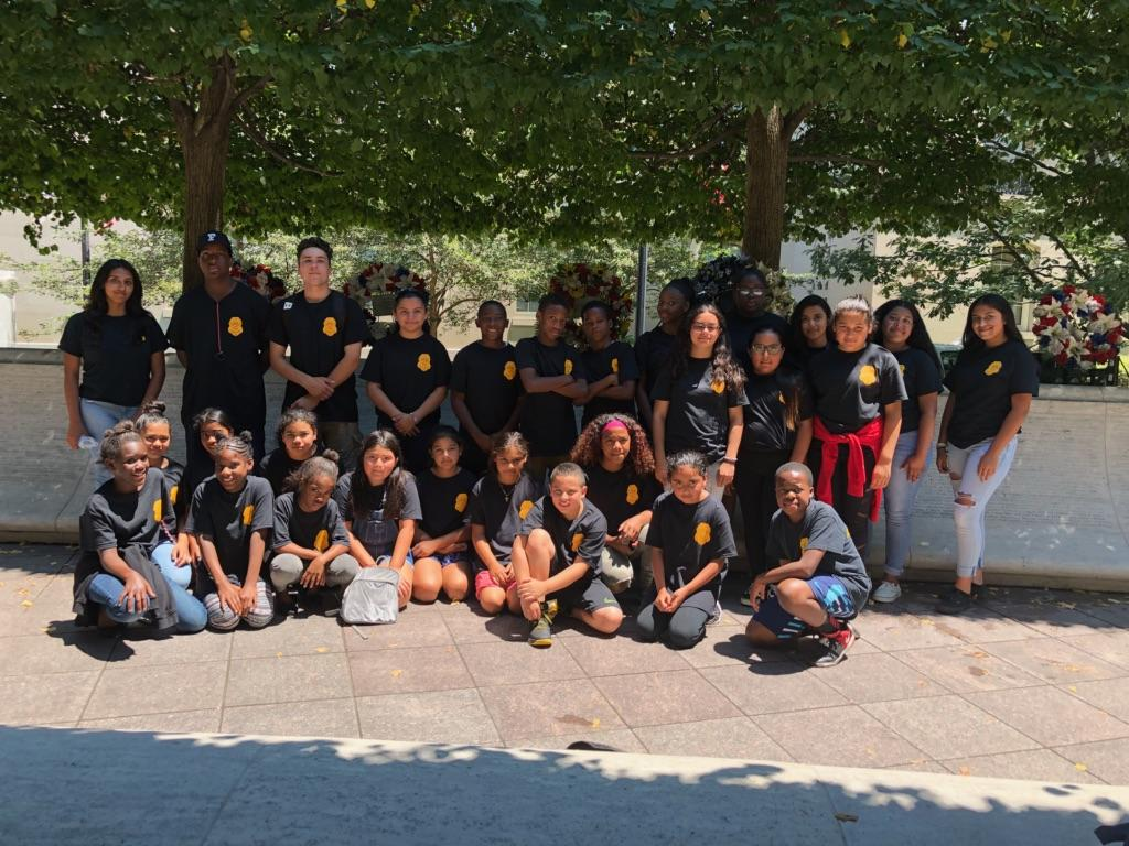 Police Adventure Campers visiting the Law Enforcement Memorial in Washington DC