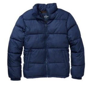 Example of the blue, medium sized Old Navy heavy jacket that the victim was wearing. The detachable hood is attached with snaps.