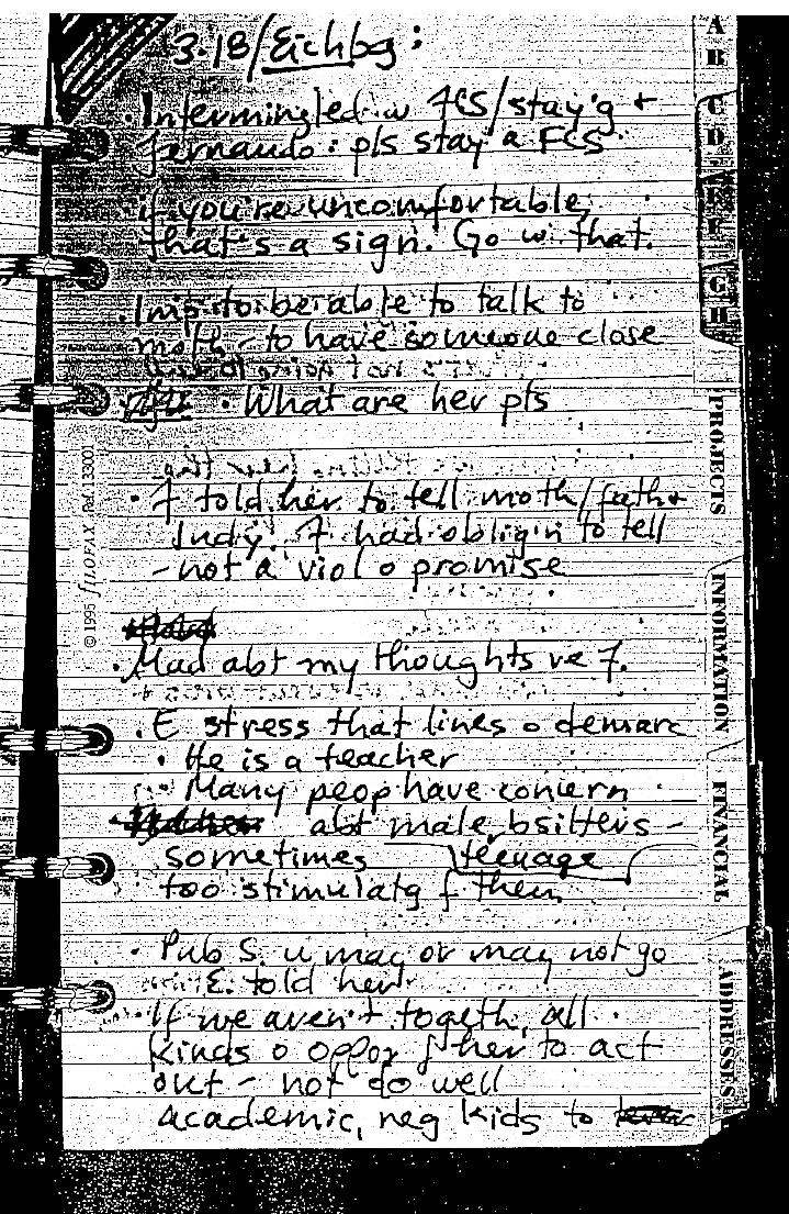 Alison Thresher's journal entry - March 18, 2000