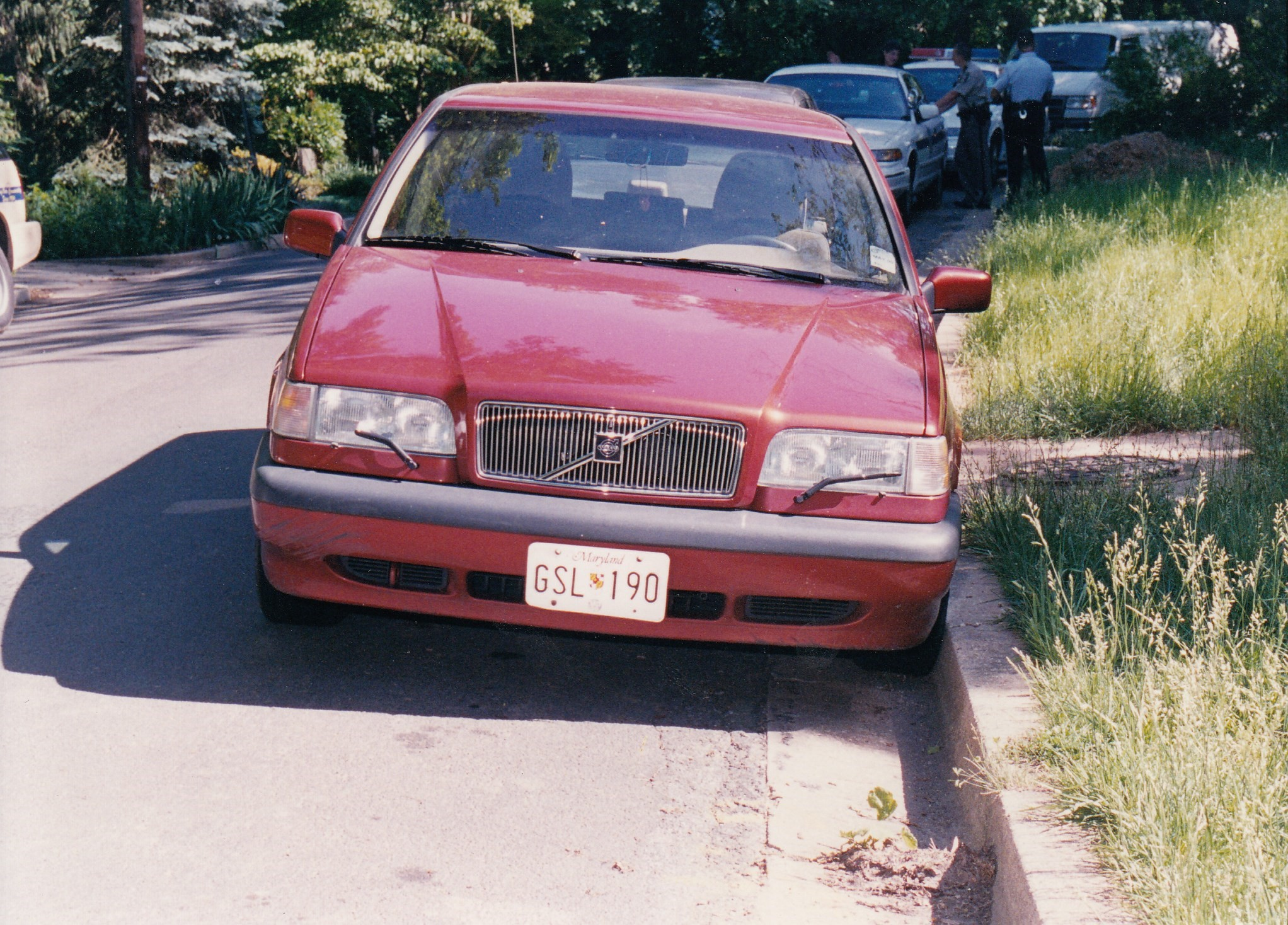 Alison Thresher's vehicle, a red Volvo station wagon, on the day it was recovered by officers - May, 25, 2000.