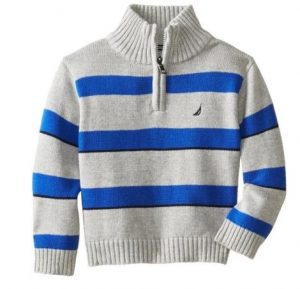 Example of blue and white, Nautica brand striped sweater that the victim was wearing. The sweater is boys size extra-large (14-16).