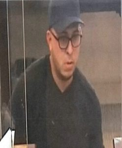 Original surveillance photograph of bank robbery suspect which was released to the public on June 13, 2017.