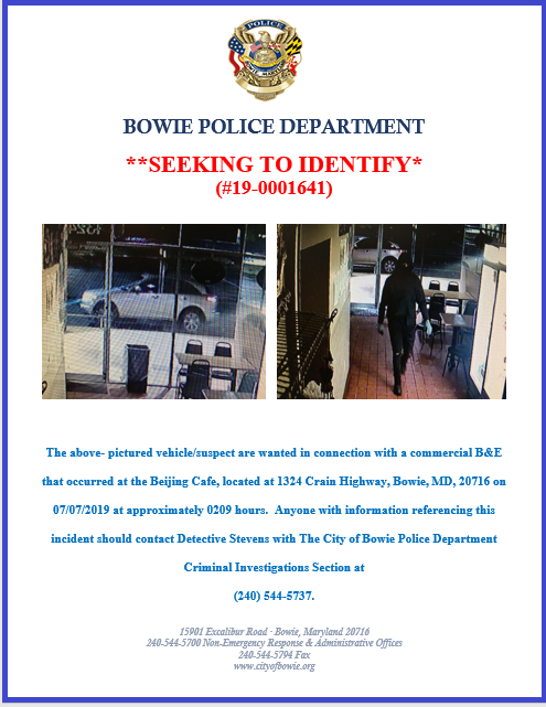 Bowie Police Department flyer