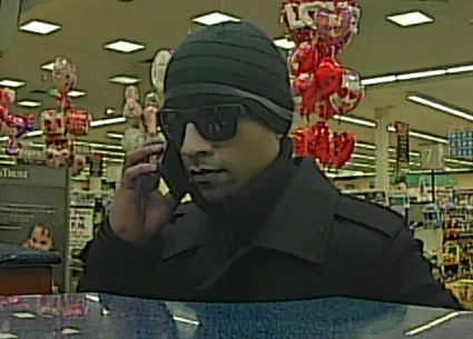 Suspect who robbed a Rockville SunTrust Bank on February 3.