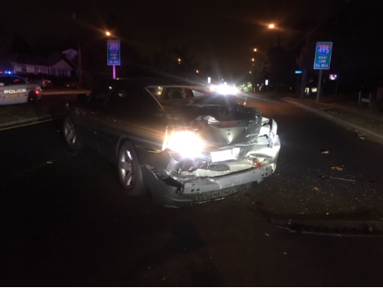 Photo of struck cruiser - Courtesy of Maryland-National Capital Park Police - Montgomery County Division