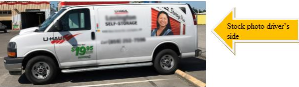 Photograph of the graphics on the U-Haul van that are similar to the graphics on the suspect's getaway U-Haul van