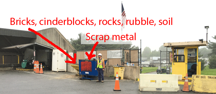 Hopper for bricks and cinderblocks in Trash Area