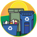 recycling bin, paper cart, and trash can