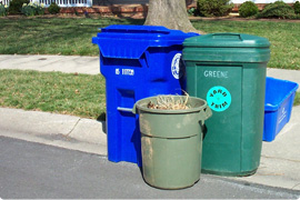paper recycling cart, yard trim cans, and recycling bin