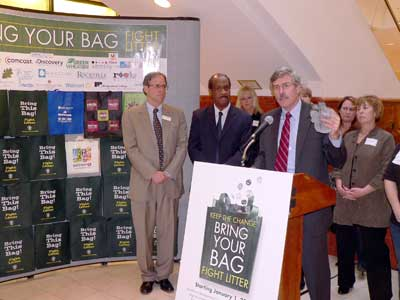Department of Environmental Protection Director Bob Hoyt holds up a discarded plastic bag to visually make the point about why discarded plastic bags are detrimental to the health of our waterways.—and why the new bag law is important.