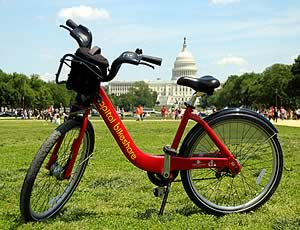 photo of bikeshare bike with the US Capitol in the background