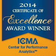2014 Certificate of Excellence Award Winner: ICMA Center for Performance Measurement (tm)