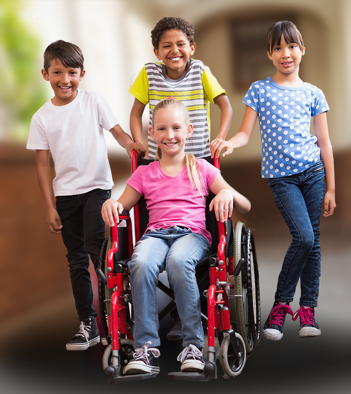 3 Kids on Foot and 1 in a wheelchair