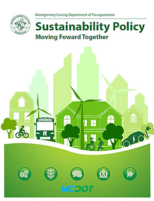 MCDOT Sustainability Policy document coverpage and graphic