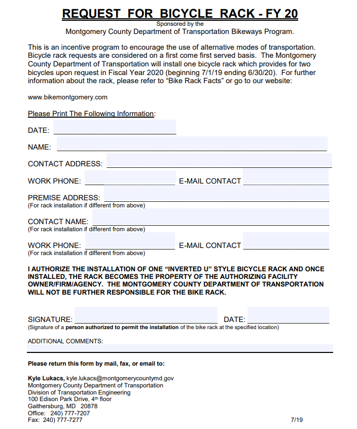 Bicycle Request Form