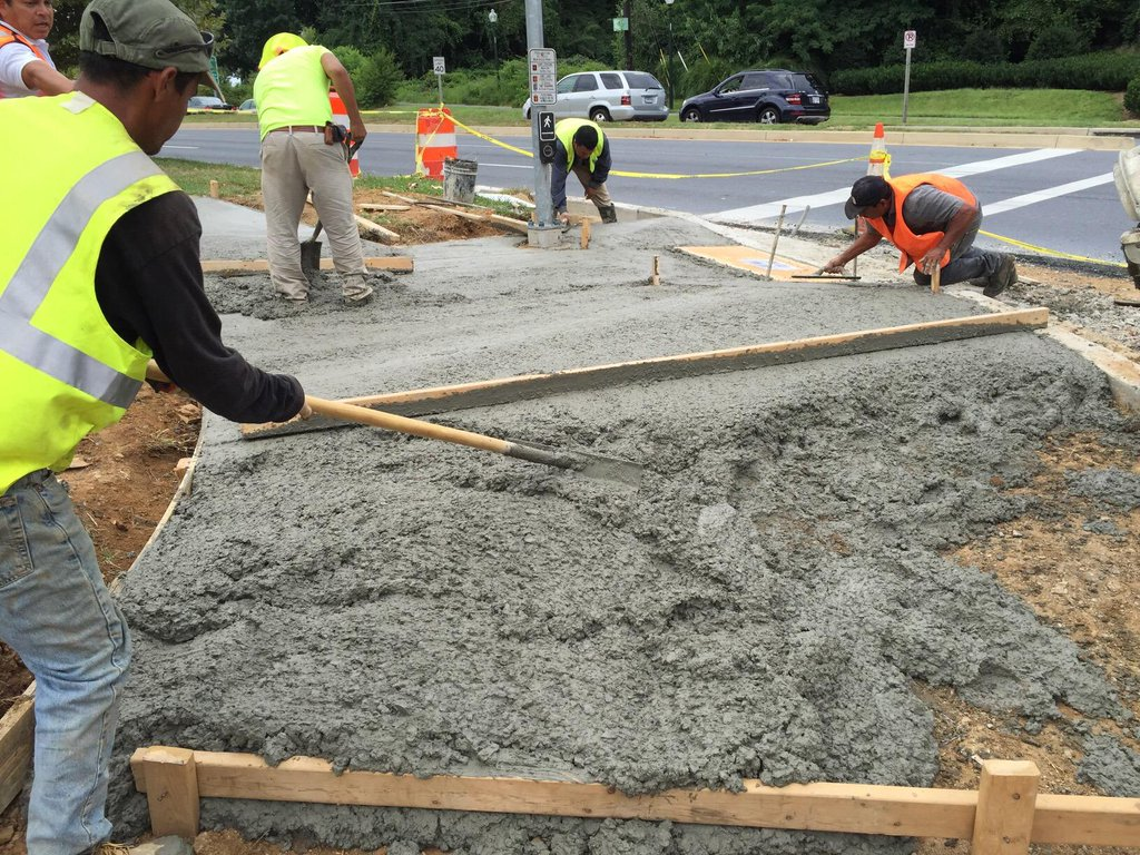 Concrete work at the pedestrian sidewalk ramps